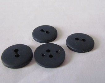 SALE Blue Buttons, Military Style Plastic Buttons - Set of 4