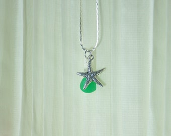 Starfish and Aqua Blue Chalcedony Briolette Necklace