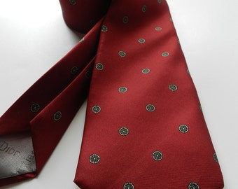 Vintage Christian Dior Mens Silk Tie in Deep Red Crimson Red