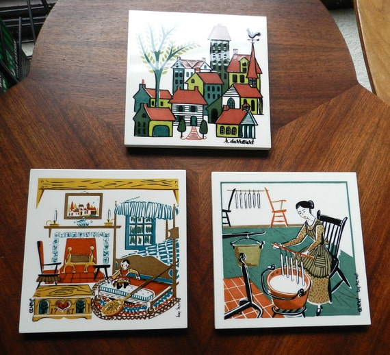 Vintage Mid Century Ceramic Tile Trivets Set of 3 by  Artist Robert Darr Wert Dutch Colonial Old Traditions