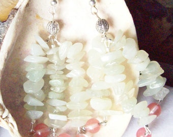 Jade Tassel Earrings with Cherry Quartz  ID 128