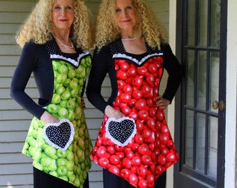 Vintage Apron, Red Apples Womens Full Apron