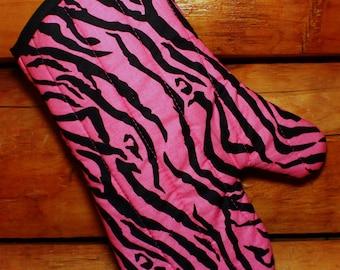 Pink Zebra Stripe Oven Mitt