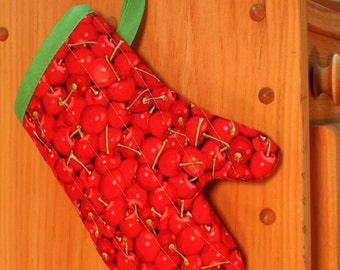 Child's Oven Mitt, Red Cherries Oven Mitt