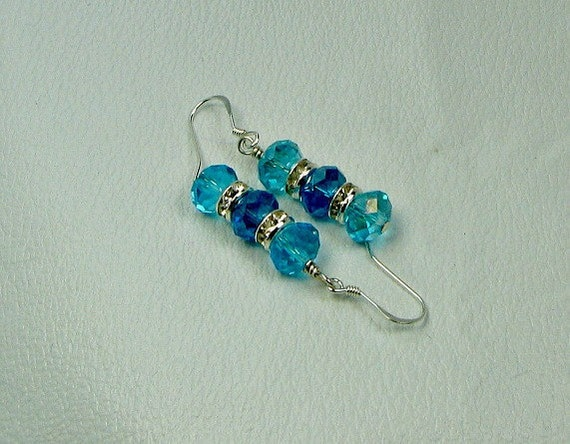 Shades of turquoise earrings, Swarovski crystal, sterling ear wires.