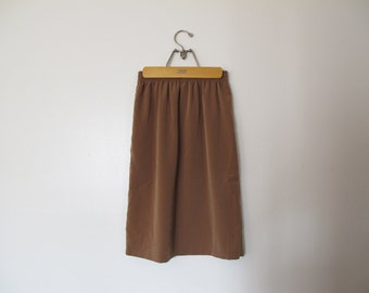 vintage latte brown skirt polyester with sheen elastic waistband XS S coachella 90s vintage music festival