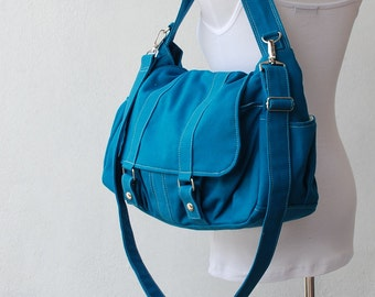 New Year SALE - 40% OFF- Teal, Messenger Bag, School Bag, Shoulder Bag, Women, Canvas School bag, crossbody bag, Handbag, Gift for Her,