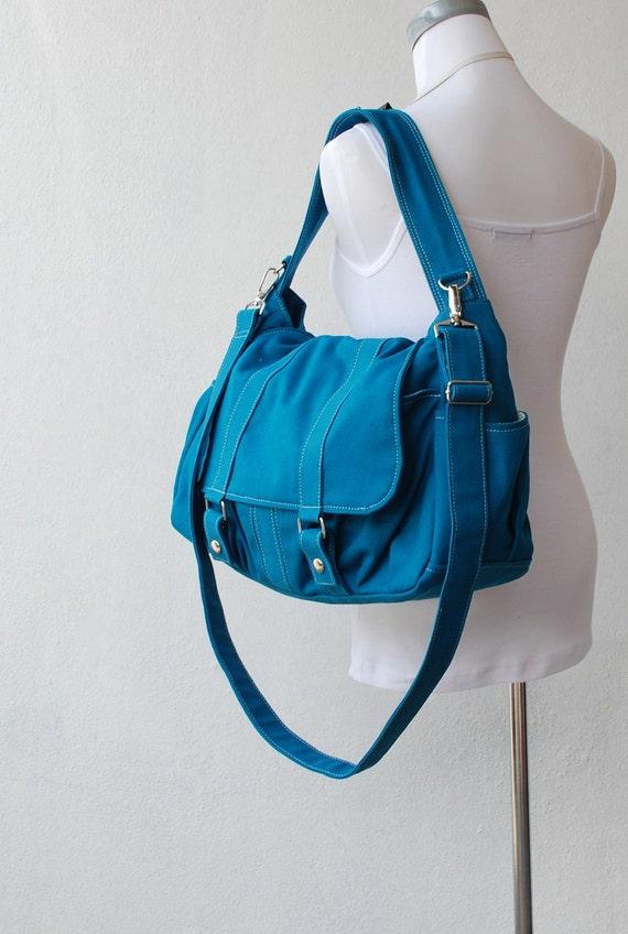 Sale SALE SALE - Teal, Messenger Bag, School Bag, Shoulder Bag, Women, Canvas School bag, crossbody bag, Handbag, Gift for Her,  40% OFF-