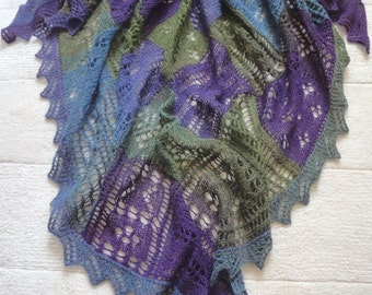 "Triangle, very big,  lace shawl  - Entrelac ""Lavender Field""."
