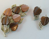 Chocolate Hearts Brooch and Earrings - Vintage Coro Moonglow Set