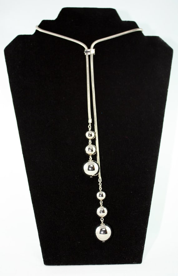 Vintage Silver Lariat Necklace