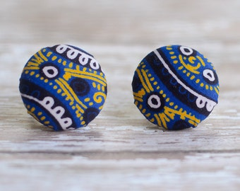 Hypoallergenic Tribal earrings:  Large Ankara african wax fabric earrings, aztec, blue, yellow, white and black