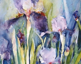 "Watercolor Painting ""IRIS GARDEN "" art Print of original watercolor Floral art 8"" x 10"" print CarlottasArt"