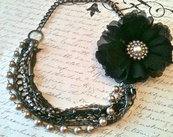 Jewelry, Necklace, Wedding Jewelry, Fabric Flower Necklace, Vintage Style Jewelry, Black Silk Flower Necklace, Vintage Jewellery, Romantic