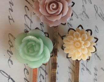 Hair Pins, Bobby Pins, Flower Cabochon Hair Pins, Wedding Hair, Mint Rose, Pink Flower, Bridal Hair