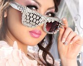 Rhinestone deco sunglasses with spikes