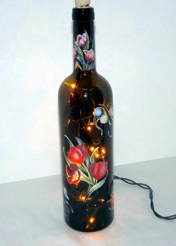 Elegant Tulips Recycled Wine Bottle Accent Lamp/Light-Great Gift Idea