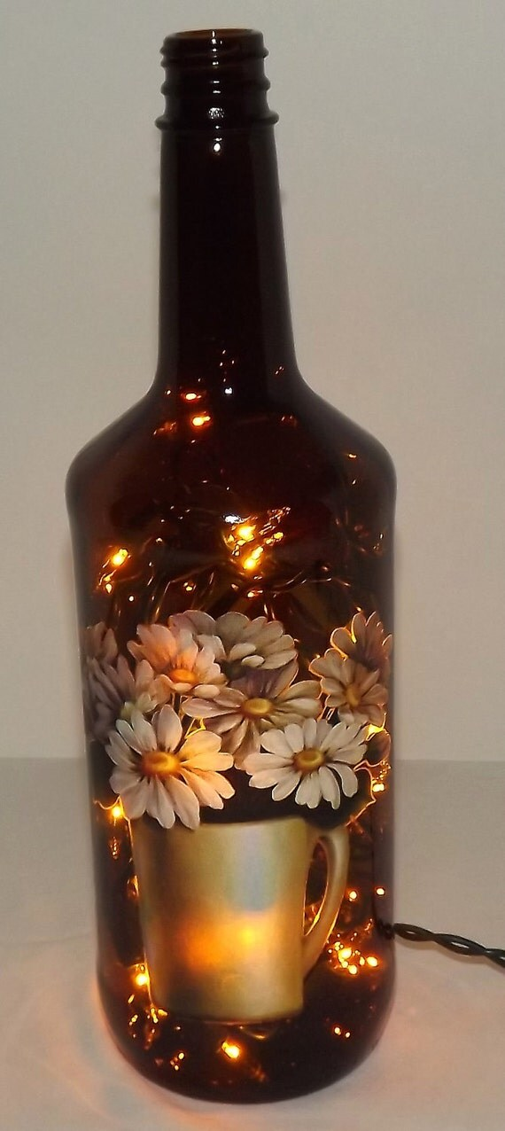 SALE--Unique Daisy Montage Glass Bottle Accent Light/Lamp-Wonderful GIFT IDEA
