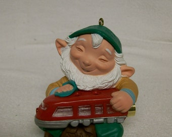 Train Elf Ornament 1991 Hallmark  Elf Pixie  Vintage Christmas Tree Ornament  Train Lover Collector Holds Tree Light