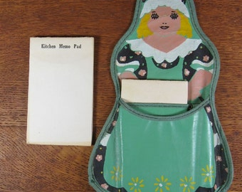 Vintage Cutest Little Girl OilCloth Memo Pad Holder Kitchen Grocery List Paper Hand Painted Wall Hanging