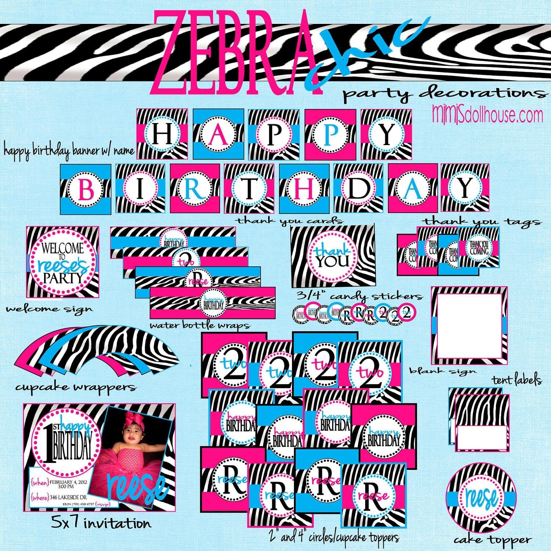 Zebra Party Decorations Zebra Birthday Party by MimisDollhouse