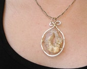 Druzy Geode Agate Pendant - Sterling Silver - Wire Wrapped & Crocheted Cord with Silver Wire, Fine Jewelry