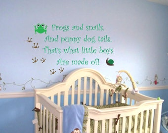 Baby Boy Nursery Saying Frogs And Snails Wall Quote Wall Decal Frog Decals Nursery Wall Decal Boys Sayings Decals Nursery Wall Art Decals
