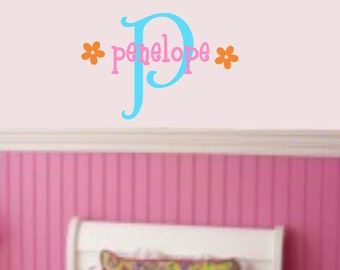 Flower Name Wall Decal Girls Room Decals Kids Bedroom Decor Baby Girl Nursery Wall Decal Monogram Wall Stickers Vinyl Lettering Wall Art