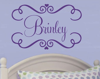 Girl Name Wall Decals Nursery Decor Swirly Frame