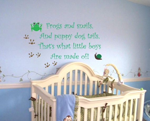 Baby Boy Nursery Saying Frogs And Snails Wall Quote Wall Decal