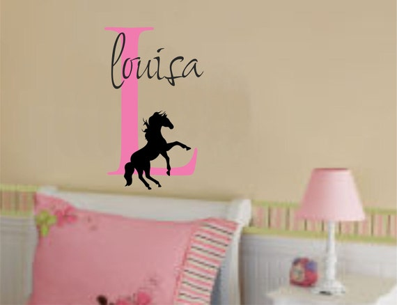 Girl Name and Horse Wall Decal Initial Personalized Vinyl Sticker Decor