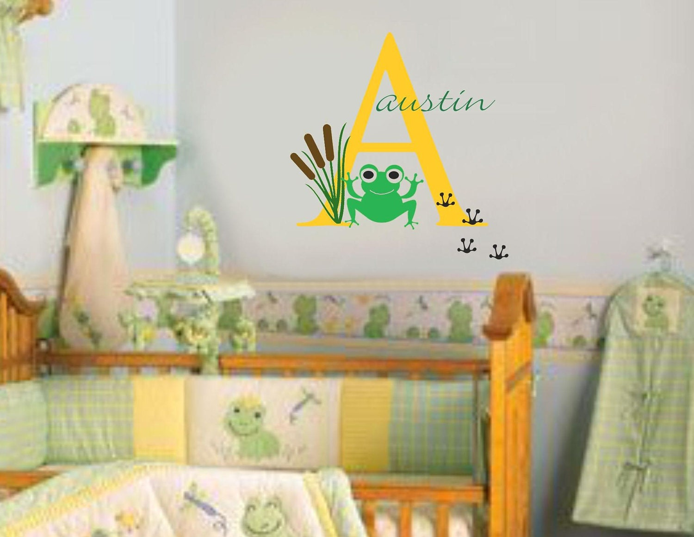 frog wall decal baby nursery name girl boy vinyl wall monogram. Black Bedroom Furniture Sets. Home Design Ideas