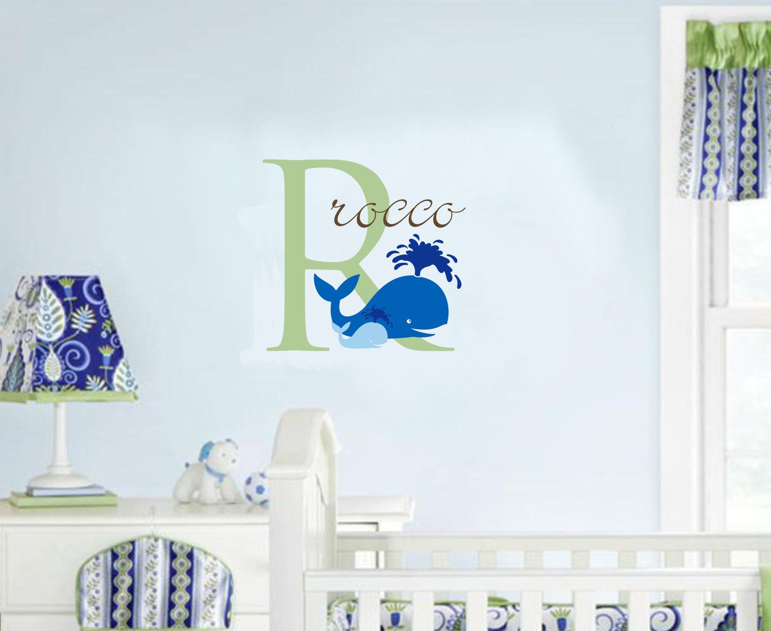 Wall decal baby boy nursery name whale ocean by for Baby name nursery decoration