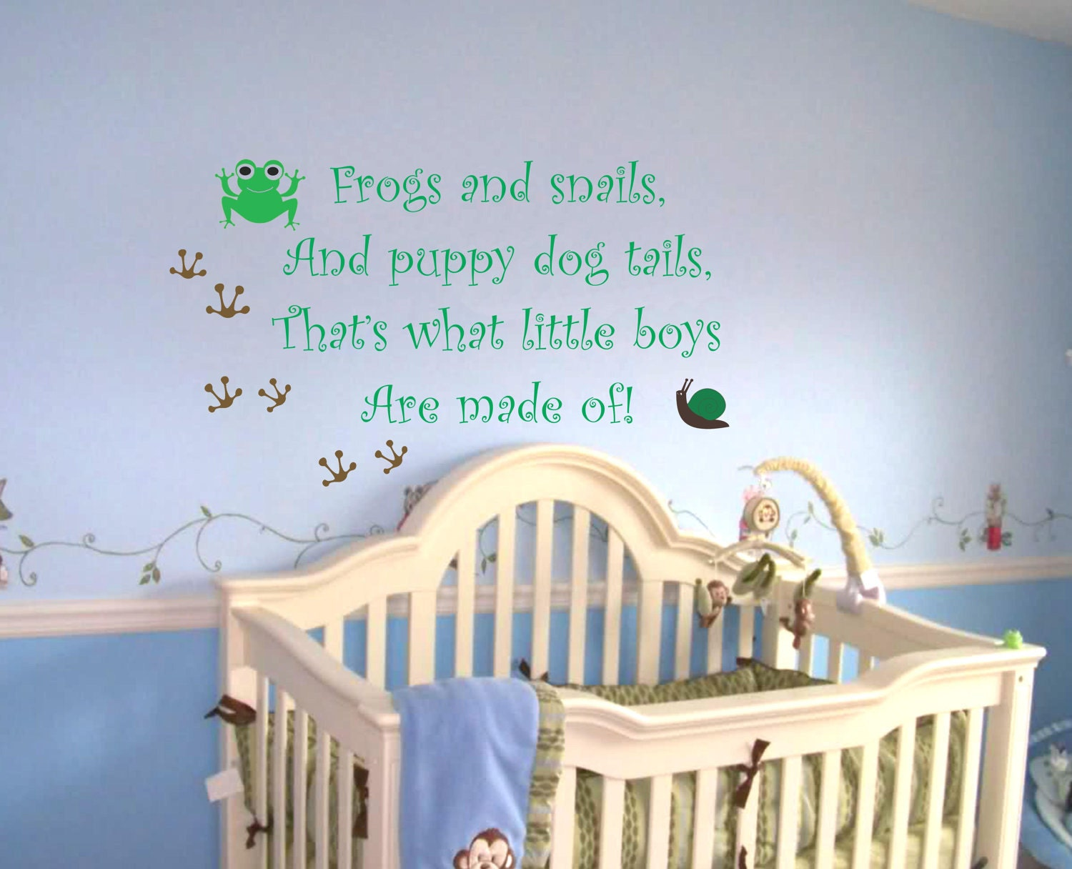 Baby boy nursery saying frogs and snails wall quote wall decal for Room decor ideas quotes