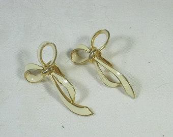 Vintage Bow Earrings Gold & Enamel Clip PEP Erwin Pearl
