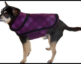 Purple Wool Dog Coat, Canine Couture, Small Dog Jacket, Chihuahua Clothing, Pet Accessories, Designer Dog Outfit