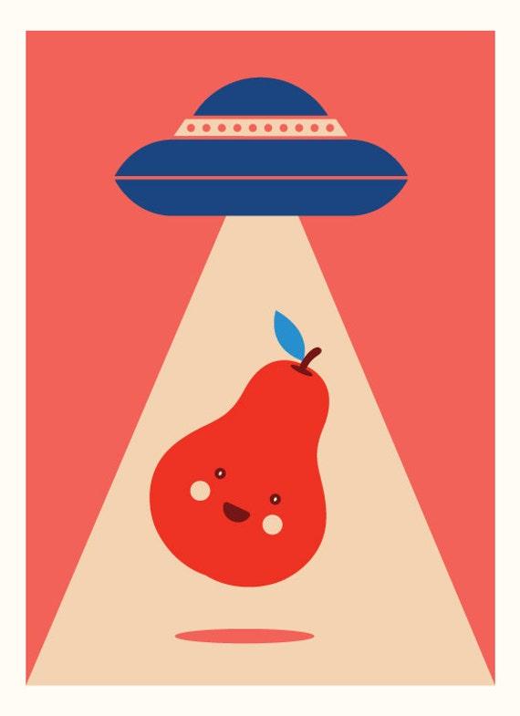 UFO Love Pear (fun, cool, red, spaceship, alien)