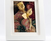 Valentine's Day Gift Framed Gold Rose on Tapestry in White Frame