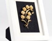 Framed Jewelry Art Vintage Carved Roses in Modern White Frame