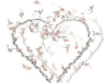 Wedding Cake Topper Heart Tree Topiary Custom Wire Beaded Sculpture Valentines Day Anniversary Birthday Gift