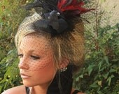 VINTAGE Fascinator, Feather Headpiece with BIRDCAGE VEIL from LasVegasVeils