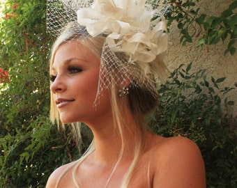 BRIDAL HEADPIECE feather fascinator with Russian Netting and Pearls by Vegas Veils