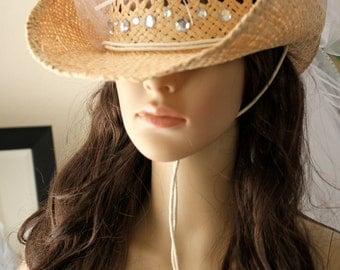 Clearance Sale! COWBOY HAT Bridal VEIL, Custom Bachelorette Cowboy Hats by Vegas Veils