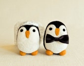 Penguin Bride & Groom Cake Toppers - Needle Felted Wooly Animal Set - Wedding Decoration Party Decor Gift Cute Felt All Natural Wool