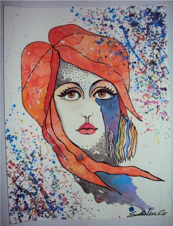 Atomic Orange & Violet, Psychedelic Modern Watercolor Portrait