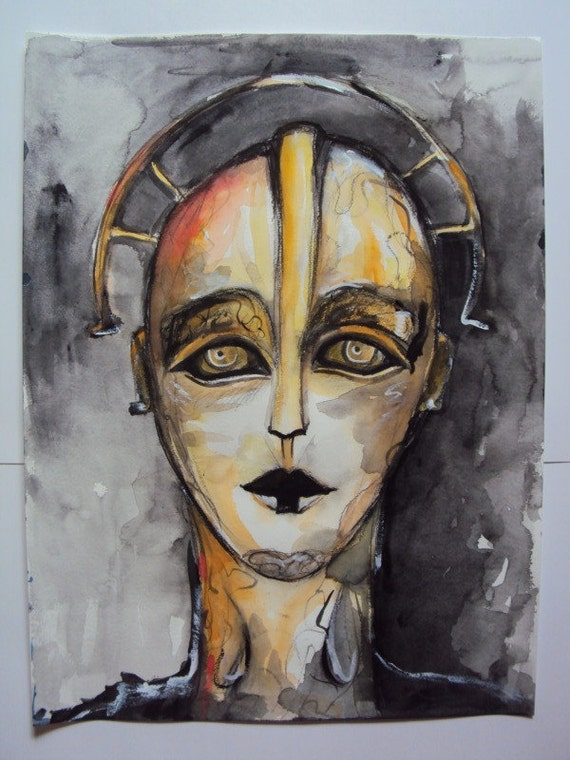 "Watercolor ""Metropolis"" Inspired Movie Portrait"