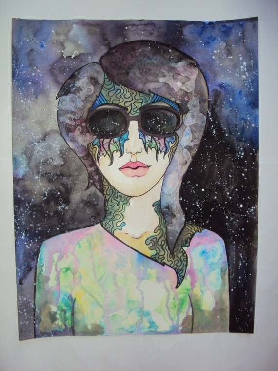 Psychedelic Space Shades Watercolor Female Portrait