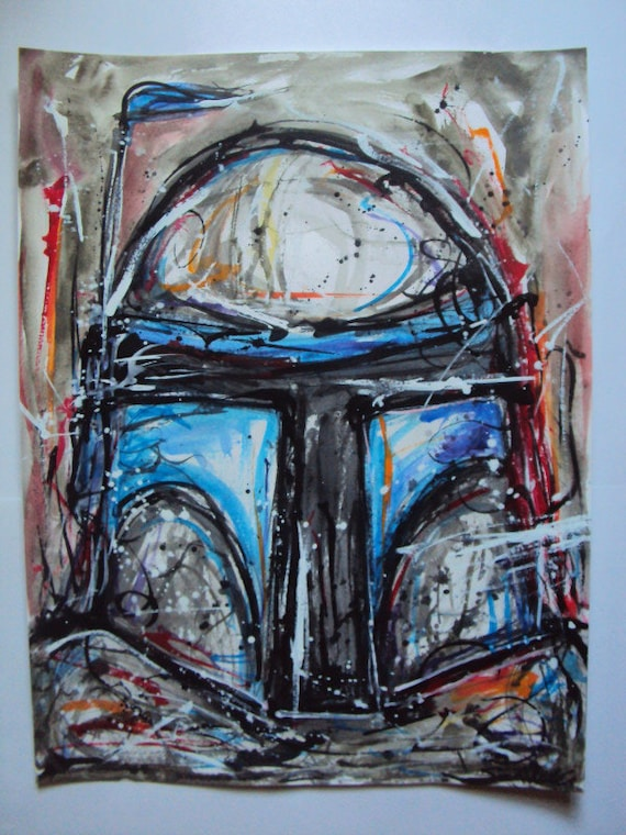 """Star Wars Inspired """"Jango Fett"""" Watercolor and Acrylic Painting"""