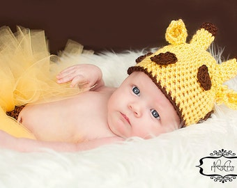 Giraffe Hat Newborn Photo Prop Baby Boy Girl Unisex Yellow Brown