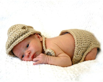 Newsboy Cap Diaper  Cover and Bow Tie Set Newborn Photo Prop Baby Boy Light Barley Brown